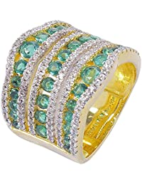 MUCH MORE Green And White Crystal Made Ring For Women Jewlery