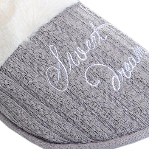 Brave Soul  Lsf-467dreams, Damen Hausschuhe Grey/Off White Faux Fur