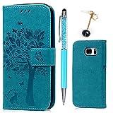 S7 Hülle, Wallet Handyhülle PU Leder mit TPU Inside Brieftasche Cover, [Kartenfach] [Magnetverschluss] [Standfunktion] Schutzhülle, Filp Case für Samsung Galaxy S7, Großer Baum in Blau