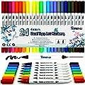 Lot de 24feutres de coloriage pour Bullet Journal, 0,4mm Double pointes feutre fine et pinceau Couleur à l'eau Stylos de dessin