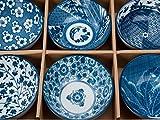 Schalen Set Kobe mit blau-weißem japanischen Design