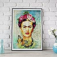 Lámina para enmarcar Frida Kahlo azul con la definición de arte. Poster con imágenes de Frida Kahlo con fondo azul y definiciones. Lámina de la mítica pintora Frida Kahlo. Lámina definiciones. Decoración de hogar. Láminas para enmarcar. Papel 250 gramos alta calidad