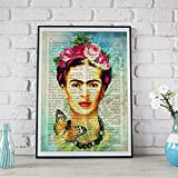 Frida Kahlo Druck | Selbstportrait auf spanischer Definition von Kunst – Poster auf 250g Papier
