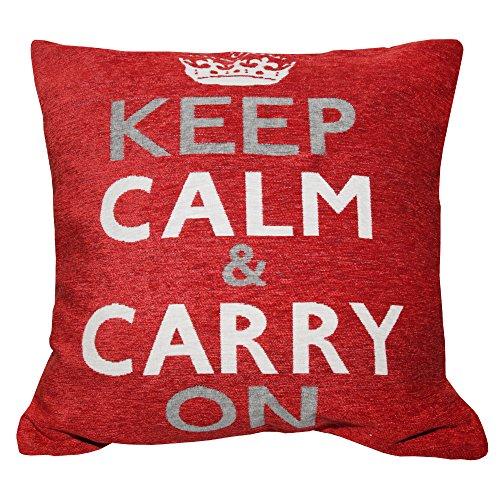 Textiles Universels Housse de Coussin Keep Calm and Carry on (Coussin Non-Inclus) (45cm x 45cm) (Rouge)