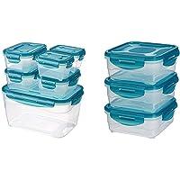 AmazonBasics 6pc Airtight Food Storage Set, Multicolour & 3pc Airtight Food Storage Containers Set, 3 x 0.80 Litre, Multicolour Combo