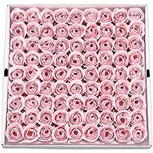 Jabón de aceites esenciales perfumados con olor a rosa con diseño en forma de flor,