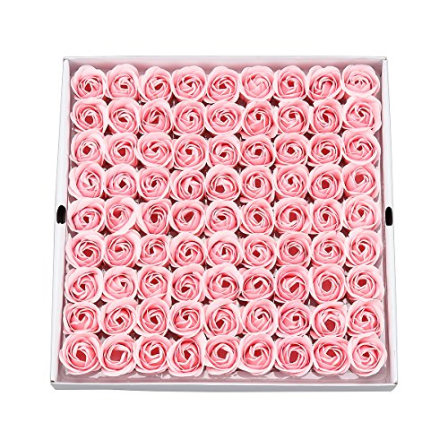 Weiye 81pcs Seife Rose Blume-Flora Duft Seife Rose Flower-Plant ätherisches Öl Seife, Geschenk für Geburtstag/Jahrestag/Hochzeit/Valentinstag/Muttertag Geschenk-Box Hellrosa -