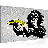 Bilder Affe mit Bannane Pistole Banksy Street Art Wandbild Vlies - Leinwand Bild XXL Format Wandbilder Wohnzimmer Wohnung Deko Kunstdrucke Grau 1 Teilig -100% MADE IN GERMANY - Fertig zum Aufhängen 302814a
