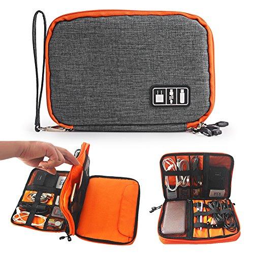 Kabel Organizer Fall tragbar Tragetasche Easy Universal Travel Organizer Tasche Elektronik Zubehör Tasche mit doppelte Schicht für Adapter, Speicherkarten, USB-Kabel, Power Bank -