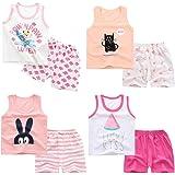 XM-Amigo 8 Paquetes e Chalecos sin Mangas para niñas Camisetas sin Mangas Camisetas sin Mangas Pantalones Cortos Conjuntos de