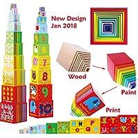 Toys of Wood Oxford Caja de apilamiento de madera - Cubos apilables del alfabeto de madera para aprender los números, aprender colores y animales - juguete educativo 2 años