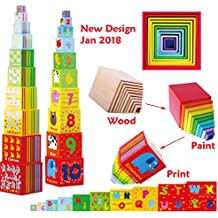 Toys of Wood Oxford cubos apilables madera / Número y alfabeto bloques - juguetes niños 2 años educativos