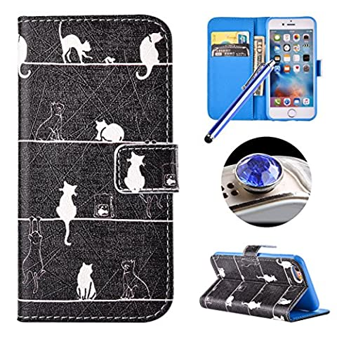 Etsue Leather Wallet Case for iPhone SE/5S/5,Cute Stylish[White Cat]Pu Leather Magnetic Closure Flip Case Cover with Credit Card Holder+[1XBlue Stylus Pen]+[1XBling Glitter Diamond Dust Plug]for iPhone SE/5S/5-White Cat