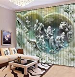 Chlwx Benutzerdefinierte Fenster Vorhang Unsere Direkt Am Zimmer Stereoskopische Jadeschnitzerei Schlafzimmer 3D Moderne GardinenHöhe240cm X Breite300cm