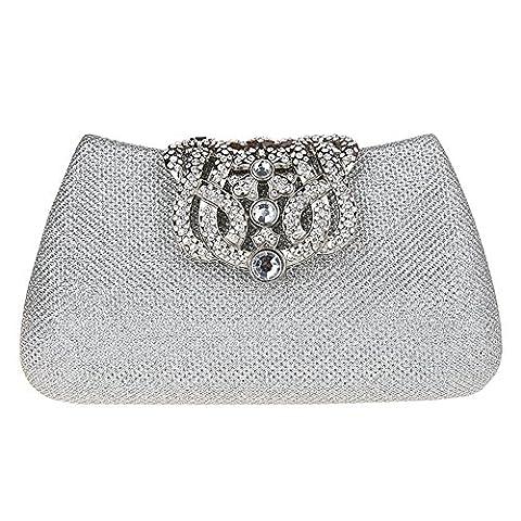 Bonjanvye Bling Crown Glitter Purse for Girls Evening Clutch Bags Silver