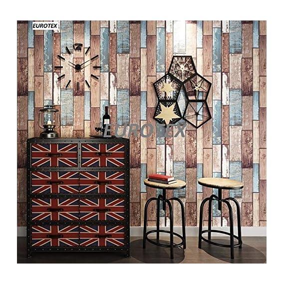 Eurotex Textured Vinyl PVC Coated 3D Wood Brick Wallpaper for Wall/Home Decoration (57sqft/Per roll)-L373802