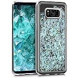 kwmobile Étui rigide coque pour Samsung Galaxy S8 avec du liquide - coque rigide couvercle de batterie étui coque de protection eau avec Design boule de neige étoile en bleu clair transparent