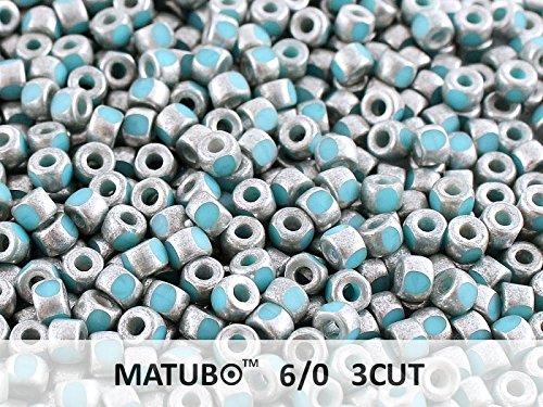 10gr 6/0 MATUBO 3CUT - Ceco Perle pressate di vetro, del taglio di macchina, Turquoise Blue Old Silver Matte