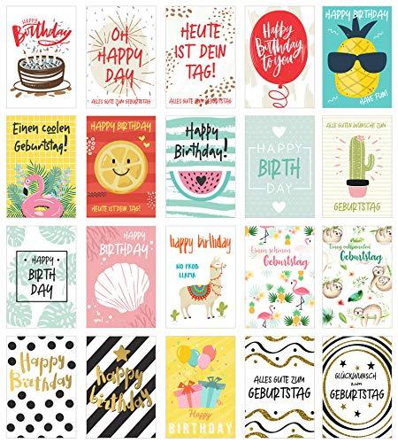 Edition Seidel Set 20 exklusive Premium Geburtstagskarten mit Briefumschlag. Glückwunschkarte Grusskarte Geburtstag Geburtstagskarte Mann Frau Karten Happy Birthday Billet Sprüche (Karten Designer-geburtstag)