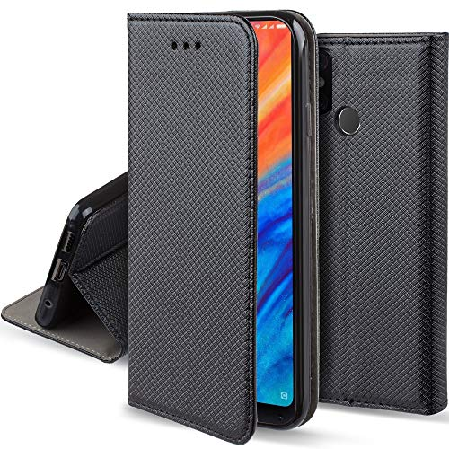 Moozy Funda para Xiaomi Mi Mix 2S, Negra - Flip Cover Smart Magnética con Stand Plegable y Soporte de Silicona