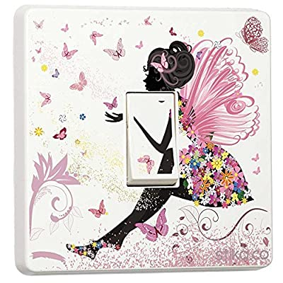 Pink Fairy Princess Butterfly & Flowers - Single Light Switch Sticker