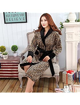 Bearony Suave Albornoz de par en par de Franela Patrón de Leopardo cálido Pijama de Invierno (Color : Leopard,...