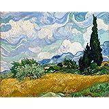 Wieco Art–Campo De Trigo Con Cipreses por Van Gogh famosos reproducción de pinturas al óleo moderno paisaje enmarcado Giclee lienzo arte imágenes sobre lienzo pared arte para oficina en casa decoración van0006–3040