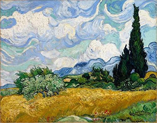 Wieco Art - Wheat Field with Cypresses by Van Gogh Famous Oil Paintings Reproduction Modern Framed Landscape Giclee Canvas Prints Artwork Pictures on Canvas Wall Art for Home Office Decorations VAN0006-3040