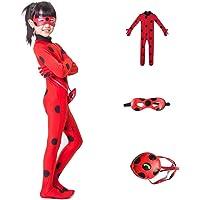 FZCRRDU KOCCAE Carnival Enfant Ladybug Costume 3-10 Ans Combinaison Masque Sac Manches Longues Cosplay Rouge Pois…