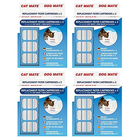 Genuine Replacement Filter Cartridges for use with Cat Mate and Dog Mate Pet Fountains - 2 Pack x 4