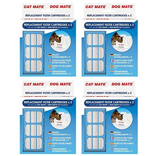 Original Ersatz-Filter Patronen für Verwendung mit Cat Mate und Hund Pet Fountains–2Pack x 4 (Pet-gefiltert-wasser-brunnen)