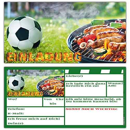 12 BBQ & Fussball Einladungskarten Set zum Kindergeburtstag Fußball-Party Grill-Fest - Einladungen für Jungen Mädchen und Erwachsene von BREITENWERK®