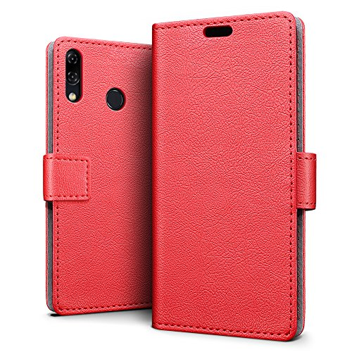 SLEO ASUS ZenFone 5 (2018) ZE620KL/ZS620KL Hülle, PU Leder Case Tasche Schutzhülle Flip Case Wallet im Bookstyle für ASUS ZenFone 5 (2018) ZE620KL/ZS620KL Cover - Rot