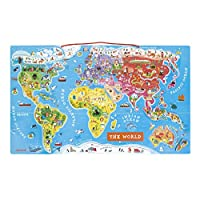 Janod J05504 Wooden Magnetic World Map Puzzle 92 pieces, English Version