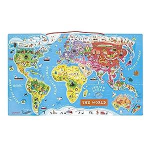 Janod J05504 Puzzle Il Mondo con Magneti, 92 Pezzi, Versione Inglese
