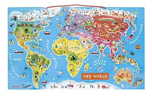 Janod Magnetic Puzzle of the World of Wood 92 Pieces, English Version (J05504)