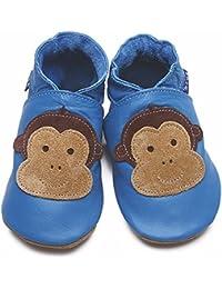 efdca40dfd65 Inch Blue Girls Boys Luxury Leather Soft Sole Pram Shoes - Cheeky Monkey  Blue - Medium