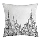 Modern Decor Throw Pillow Cushion Cover, European City Landscape Sketchy Artistic Painting with Landsmarks Image, Decorative Square Accent Pillow Case, 18 X 18 inches, Black and White
