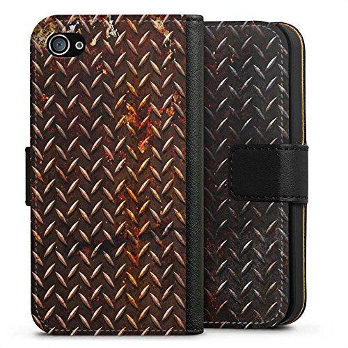 Apple iPhone X Silikon Hülle Case Schutzhülle Rost Look Metall Braun Sideflip Tasche schwarz