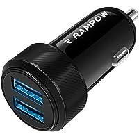 Rampow Chargeur Allume Cigare USB - Garantie à Vie - Chargeur Voiture USB Ultra Compact Double Port 4.8A/24W pour iPhone X/8/7/6, Samsung S9/S8/S7, iPad Air/Mini, Huawei, Honor et Plus - Noir
