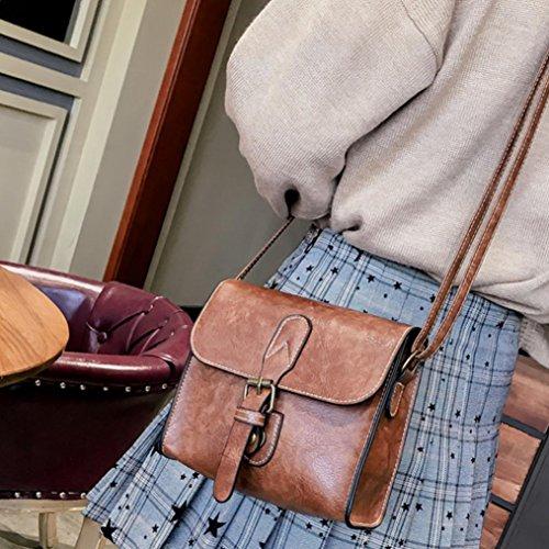 BZLine® Frauen Mode Vintage Schnalle Flap Bag Crossbody Umhängetasche Braun