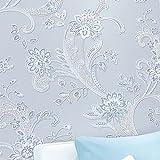 3D Pastoral Stereo Effekt Beflockung Geprägt Blume Wohnzimmer Schlafzimmer TV Hintergrund Vlies Tapete Rolle (Blau)