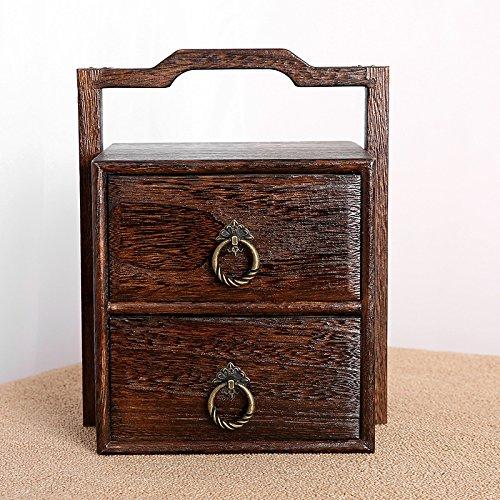 GFEI Tomar _ costurero de madera chino doble cubo / antiguo cajón de