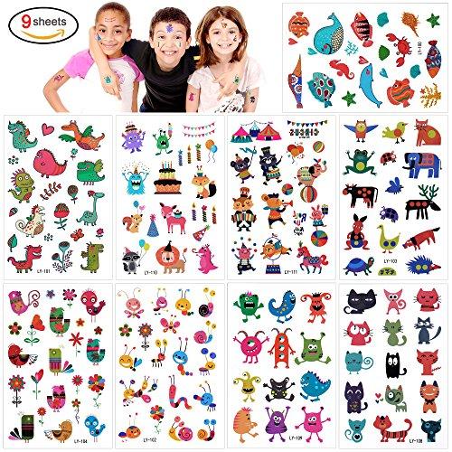 Monster Tattoos Set, Konsait temporäre Kinder tattoos Aufkleber für Kinder Spielen Mitgebsel Kindergeburtstag geschenktüten (160 Tattoos)üten (160 Tattoos) (Katze Kostüm Zubehör Halloween)