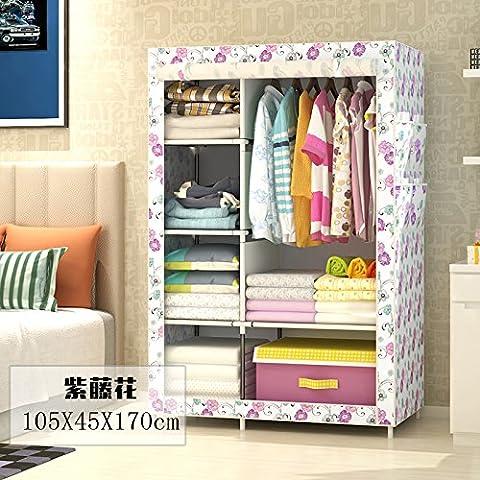 WJP modernos armarios simplificada de tela de refuerzo de bricolaje armario ropero W-138