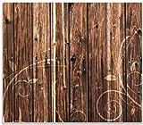 Wallario Herdabdeckplatte/Spritzschutz aus Glas, 1-teilig, 60x52cm, für Ceran- und Induktionsherde, Holz in Dunkelbraun mit Blumenmuster - Schnörkel