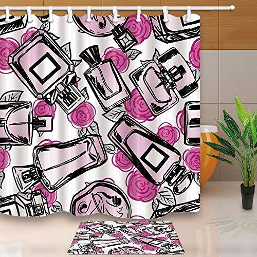 gohebe Fashion Frau Make-up Parfüm Decor Aquarell Parfum Flaschen mit Rose in weiß 180x180cm Polyester Stoff Vorhang für die Dusche Anzug mit 39x59cm Flanell rutschfeste Boden Fußmatte Bad Teppiche -