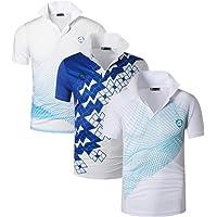 jeansian 3 Packs Uomo Allenarsi Sportivo Poliestere Asciugatura Rapida Camicie Workout Polo Shirt T-Shirts LSL195 Pack
