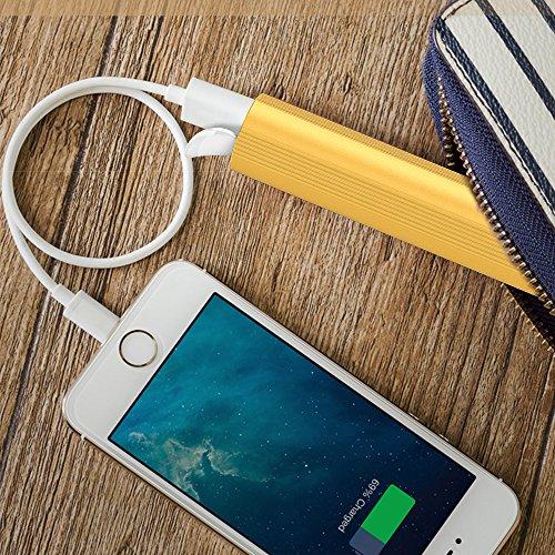 AGM Torcia LED con Caricabatterie Portatile USB | Mini Formato Torcia a LED con Batteria Esterna 3800mAh Power Bank Integrata - Caricabatterie e Torcia Potente 2 in 1 (Oro)