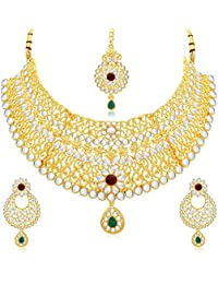Bollywood Style Traditional Beautiful Gold Plated Party Wear Ethnic Desginer Heavy Look Kundan Necklace Set For... - B078GKT7F9
